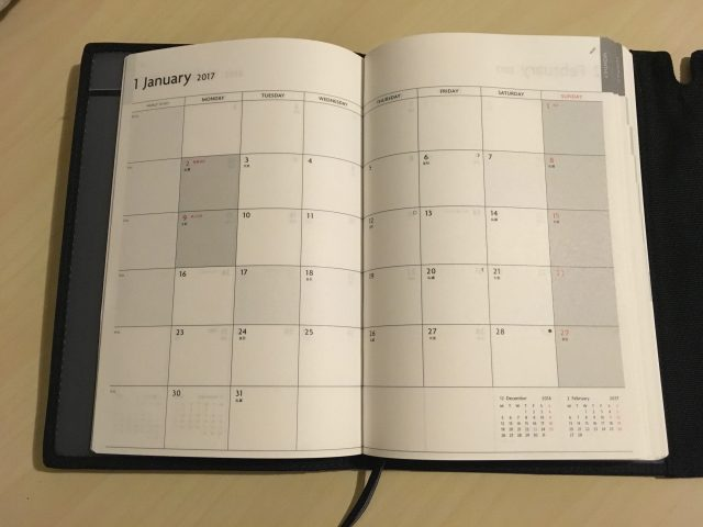 EDiT2017 1月毎のカレンダー